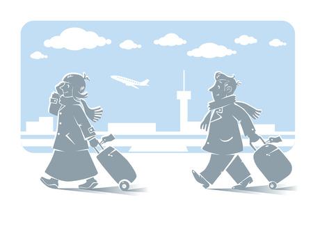 telefono caricatura: Ilustraci�n del vector de pasajeros de ritmo r�pido divertido, hombre y mujer con las maletas y m�viles en abrigos y bufandas con el fondo del aeropuerto