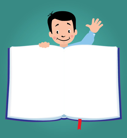 cartoon hands: Design template background with illustration of little funny boy  for menu or recipe and place for text in the shape of a book. Illustration