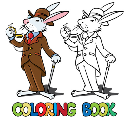Coloring book or coloring picture of funny little rabbit in glasses, jacket, hat and pants with watch and walking cane or stick