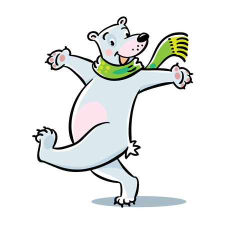 turned out: Funny cheerfully happy jumping polar bear in green scarf. Childrens vector illustration