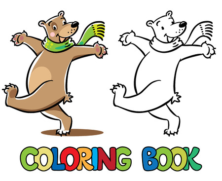 turned out: Funny cheerfully happy jumping bear in green scarf. Coloring book or coloring picture. Childrens vector illustration
