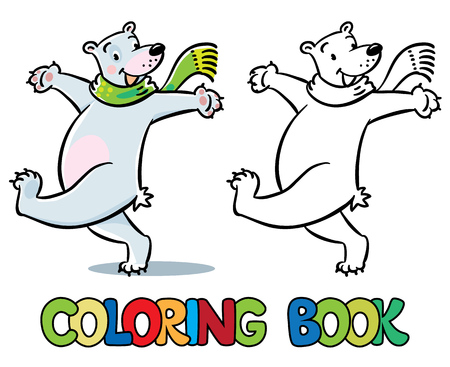 Funny cheerfully happy jumping polar bear in green scarf. Coloring book or coloring picture. Childrens vector illustration