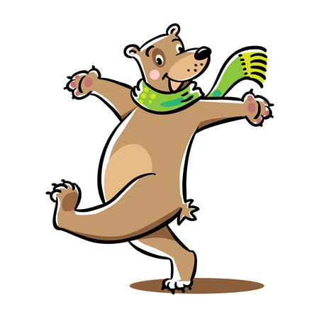 turned out: Funny cheerfully happy jumping bear in green scarf. Childrens vector illustration