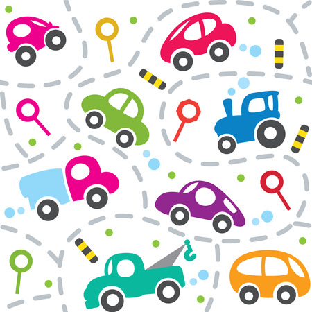 children room: Seamless vector background of small funny vector cars and signs with dashed lines like road, for packin paper, diaper or wallpaper in children room.