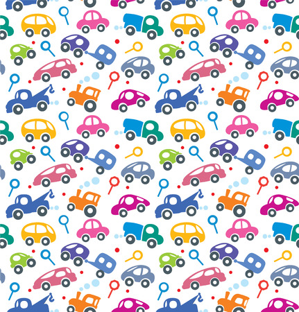 Seamless vector background of small funny vector cars and signs with dashed lines like road, for packin paper, diaper or wallpaper in children room.
