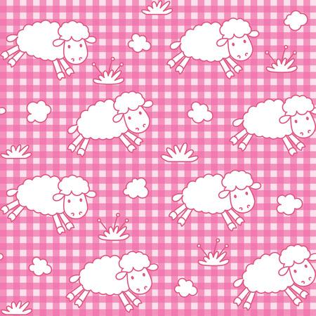 mosca caricatura: Modelo incons�til con las ovejas divertidas con las nubes en fondo a cuadros Vectores