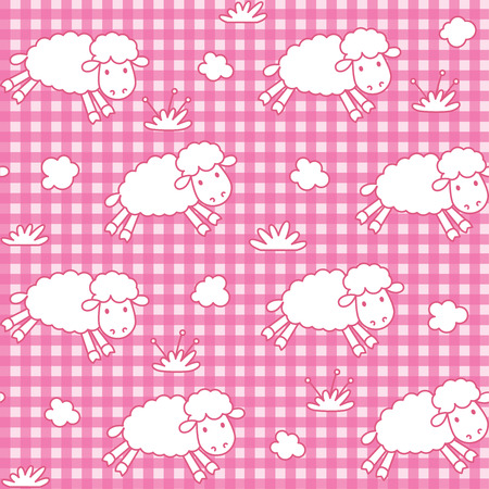 fly cartoon: Seamless pattern with funny sheeps with the clouds on checkered background