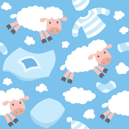 blankets: Seamless pattern with funny sheeps flying in the sky among blankets, pillows, pajamas, socks and clouds