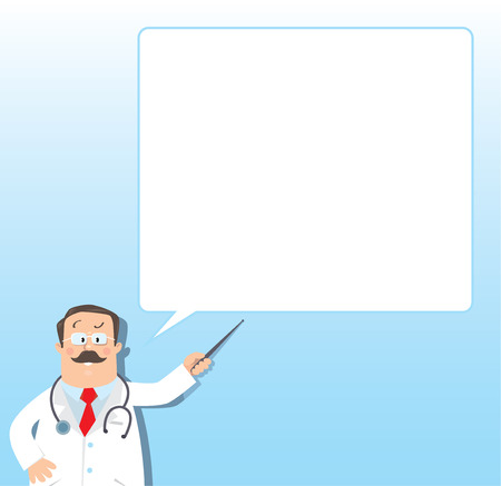 sick people: Design template background for prescription or memory stick with funny man doctor in white coat with stethoscope, showing by pointer, on light-blue background with balloon