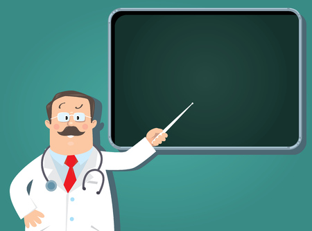 Design template background for prescription or memory stick with funny man doctor in white coat with stethoscope, showing by pointer, on blue-green background with lines and balloon