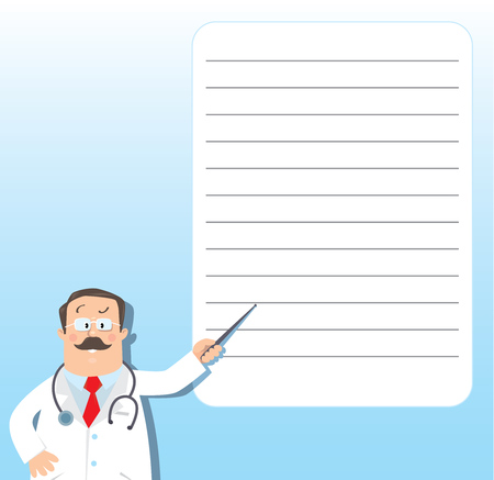 memory stick: Design template background for prescription or memory stick with funny man doctor in white coat with stethoscope, showing by pointer, on light-blue background with balloon and lines