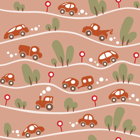 hilly: Seamless pattern of small funny cars on the hilly road with trees and road signs. Children vector illustration in low color