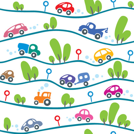 hilly: Seamless pattern of small funny cars on the hilly road with trees and road signs. Children vector illustration Illustration