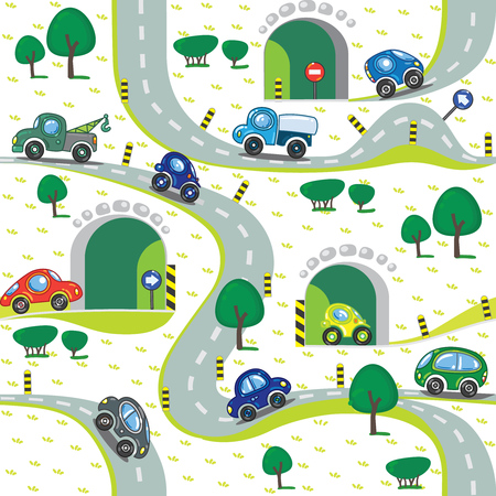 grass area: Seamless pattern of small funny cars on the road with trees and grass area. Children vector illustration Illustration