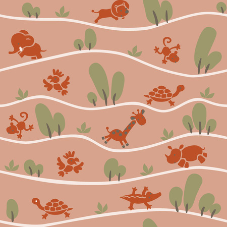 jumbo: Seamless pattern with funny running african animals in savannah in terracotta colors. Children vector illustration