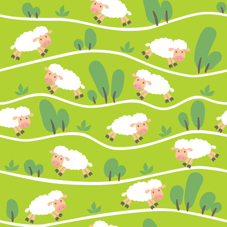 sleeping room: Seamless pattern with funny sheeps on the hills with trails and trees. Children vector illustration background