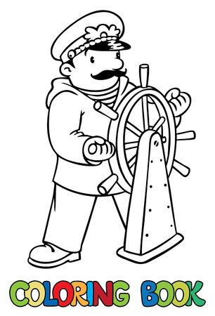 peaked cap: Coloring picture or coloring book of funny captain or sailor, or yachman in coat, at the helm. Profession series. Children vector illustration.