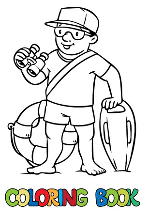 employe: Coloring picture or coloring book of  lifegueard with equipment on the beach. Profession series. Children vector illustration.