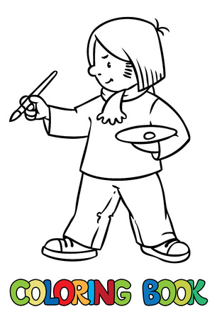 tempera: Coloring picture or coloring book of funny artist or painter with paintbrush and palette.  Profession series. Children vector illustration.