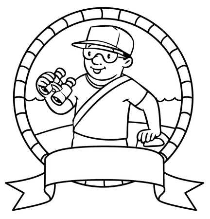 employe: Coloring picture or coloring book or emblem of  lifegueard with equipment on the beach. Profession series. Children vector illustration. Illustration