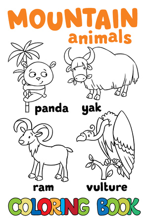 Set of funny panda, yak, ram and vulture. Coloring book or coloring picture