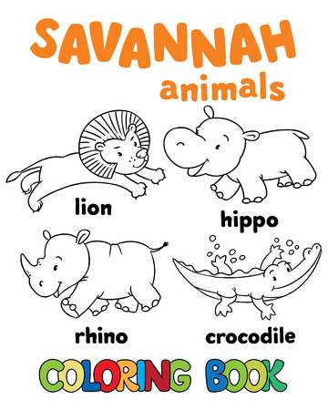 cartoon funny: Set of funny lion, hippo, rhino and crocodile. Coloring book or coloring pictures