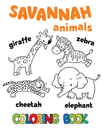 funny pictures: Set of funny . Coloring book or coloring pictures