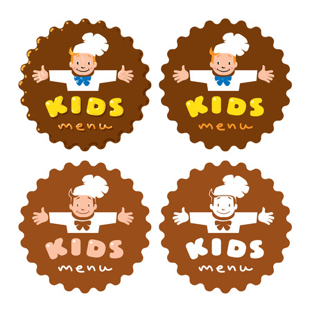 Sticker with illustration of little funny boy cook or chief and Kids Menu logo. In four different version, full colored, two colored and monochrome Illustration