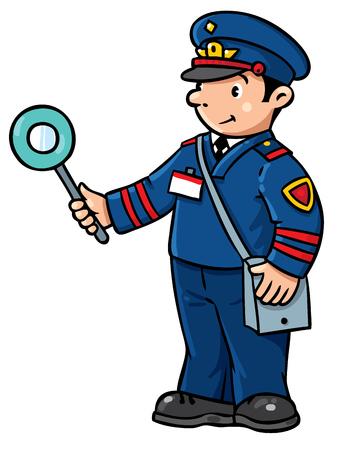 Children vector illustration of funny railroader in uniform.   Profession series.