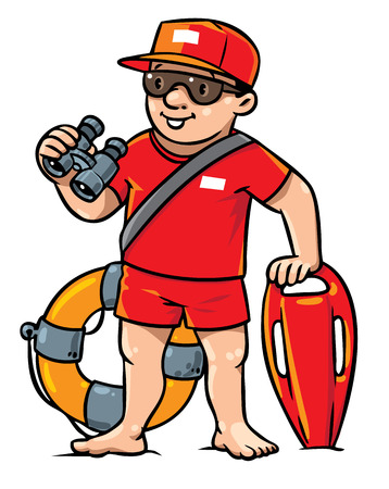 Children vector illustration of lifegueard with equipment on the beach. Profession series.