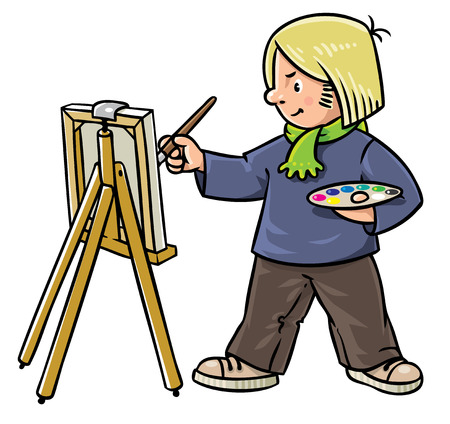 tempera: Children vector illustration of funny artist or painter with paintbrush and palette at the easel.  Profession series. Illustration