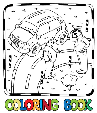 Coloring picture of policeman stopped the car, salutes and talking with the driver.