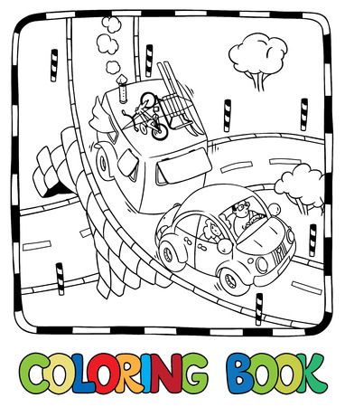 cartoon bug: Coloring picture of small car with trailer on the road. Children vector illustration Illustration