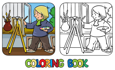pen cartoon: Coloring picture or coloring book of funny artist or painter with paintbrush and palette at the easel.  Profession series. Children vector illustration.