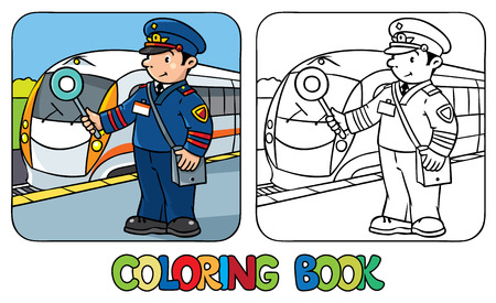 child boy: Coloring picture or coloring book of funny railroader in uniform.   Profession series. Children vector illustration.