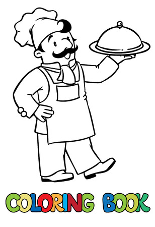 Coloring picture or coloring book of funny cook or chef with tray. Profession series. Children vector illustration. Vettoriali