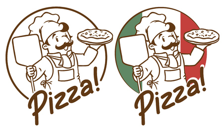 Emblem of funny cook or chef  or baker with pizza on background colors of the Italian flag. Two monochrome version. Children vector illustration.