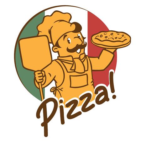 kitchen cartoon: Emblema del cocinero divertido o el cocinero o el panadero con la pizza en los colores de fondo de la bandera italiana. ilustraci�n de vector de los ni�os en colores discretos o bajas