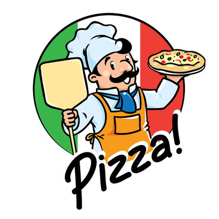 Emblem of funny cook or chef or baker with pizza on background colors of the Italian flag. Children vector illustration.