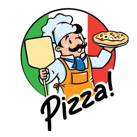 panadero: Emblema del cocinero divertido o el cocinero o el panadero con la pizza en los colores de fondo de la bandera italiana. Los niños ilustración vectorial.