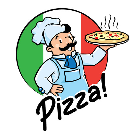 Emblem of funny cook or chef  or baker with pizza on background colors of the Italian flag. Children vector illustration. Illustration