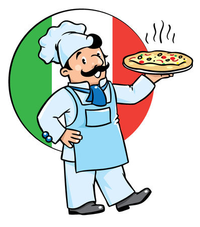 baker cartoon: Children vector illustration of funny cook or chef with pizza on background colors of the Italian flag. Profession series.