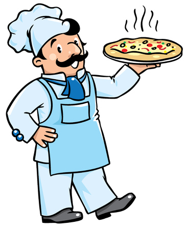 cartoon funny: Children vector illustration of funny cook or chef with pizza. Profession series.