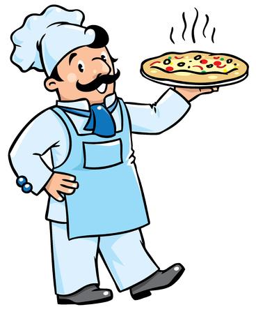 cocina caricatura: ilustraci�n vectorial de los ni�os cocinero divertido o cocinero con la pizza. Serie de la profesi�n. Vectores