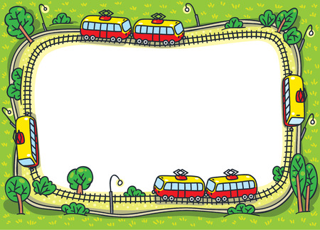 grass area: Greeting card or frame  with a vector picture of trams on the tram tracks and green areas. Design template background Illustration