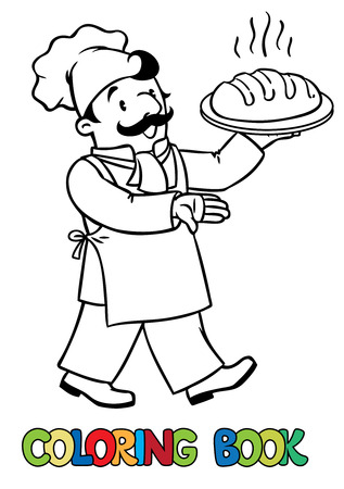 baker cartoon: Coloring picture or coloring book of funny cook or chef or baker with bread. Profession series. Children vector illustration.