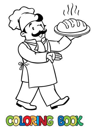 kitchen cartoon: foto colorante o libro de colorear del cocinero divertido o el cocinero o el panadero con el pan. Serie de la profesi�n. Los ni�os ilustraci�n vectorial. Vectores