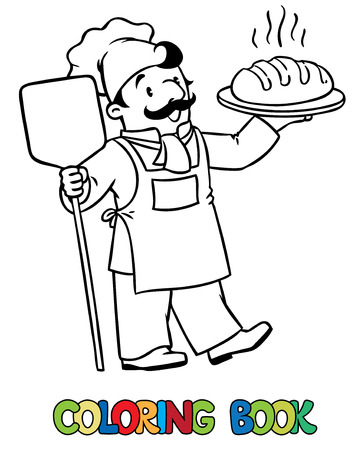 Coloring picture or coloring book of funny cook or chef or baker with bread. Profession series. Children vector illustration.