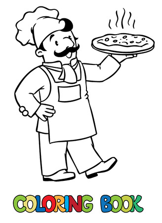 baker cartoon: Coloring picture or coloring book of funny cook or chef or baker. Profession series. Children vector illustration.