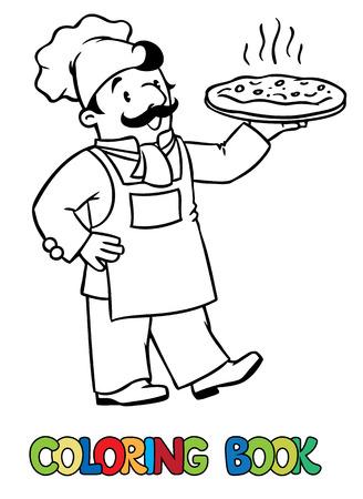 cocina caricatura: foto colorante o libro de colorear del cocinero divertido o el cocinero o el panadero. Serie de la profesi�n. Los ni�os ilustraci�n vectorial. Vectores